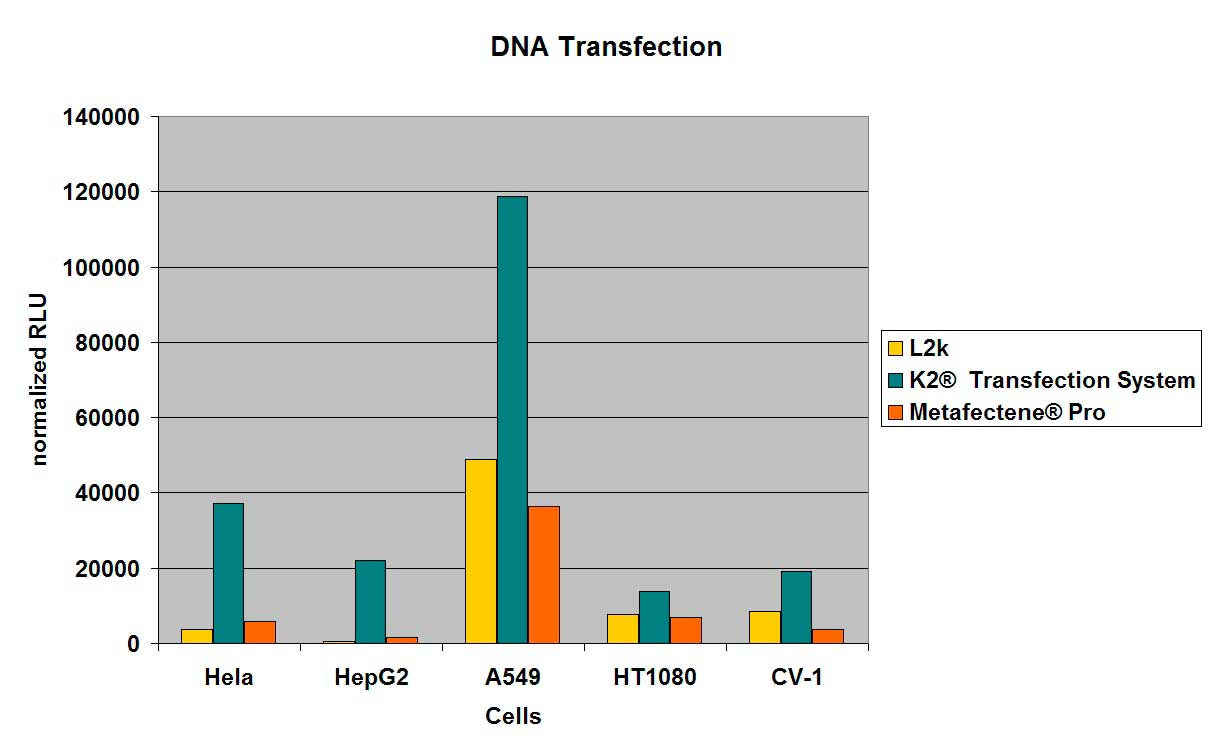Transfection efficiency of K2® Transfection System with pCMV-Luc compared with L2k and METAFECTENE® PRO under optimized conditions